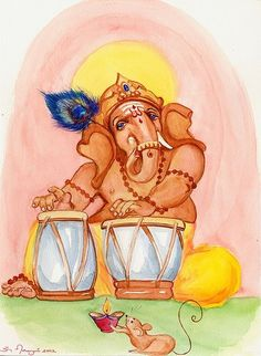 Ganesh playing tablas while his vehicle (mouse) Krauncha waves  lighted aarti lamp