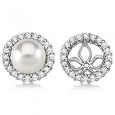 Diamond Earring Jackets for Pearl Studs 14K White Gold (0.63ct) Allurez. $1322.00. Christmas. birthday. mother's day. Hanukkah. anniversary