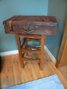 Vintage luggage and I added a old stool and made a table!