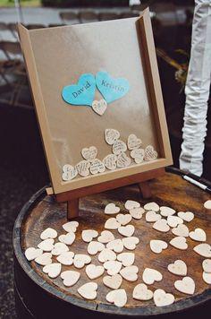Wooden Heart Wedding Guest Book