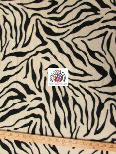 "#White #Zebra Anti-pill #Fleece Fabric 60"" Width Sold By The Yard"