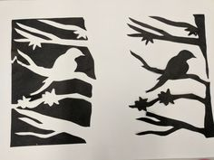 Positive/Negative paper cut Negative And Positive Space, Negative Space Art, Positive Art, Line Art Projects, Summer Art Projects, Space Drawings, Art Drawings For Kids, Notan Art, 8th Grade Art