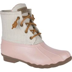 Sperry Women's Saltwater Canvas Rose Rain Boots ($120) ❤ liked on Polyvore featuring shoes, boots, laced boots, waterproof rain boots, side zipper boots, wellies boots and lightweight waterproof boots