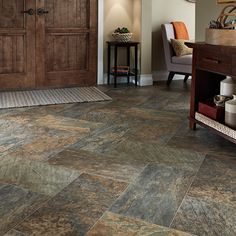 Vinyl Sheet Flooring Patterns | Luxury vinyl Sheet Majesty slate look pattern flooring for your home