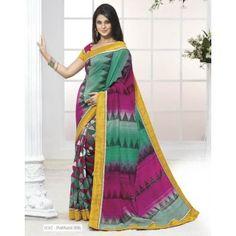Jennifer Winget Green Colour Designer Bhagalpuri Pathani Silk Saree