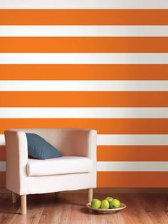 Don't hassle with a messy paint job when you can use wall decals instead. Find out where we got these white stripe decals.