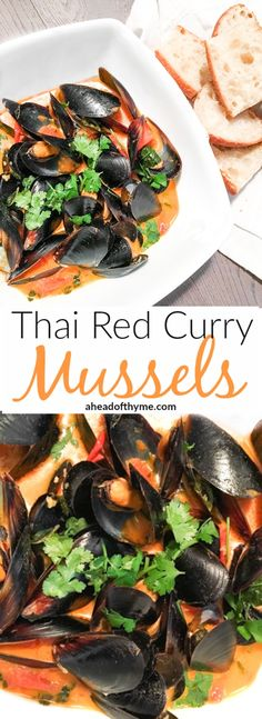 Thai Red Curry Mussels Thai Red Curry Mussels Show Off Your Kitchen Skills With This Quick And Gorgeous Appetizer Serve With A Side Of Bread For Dipping Ahead Of Thyme Fish Recipes, Seafood Recipes, Asian Recipes, Dinner Recipes, Cooking Recipes, Healthy Recipes, Mussel Recipes, Seafood Appetizers, Seafood Menu