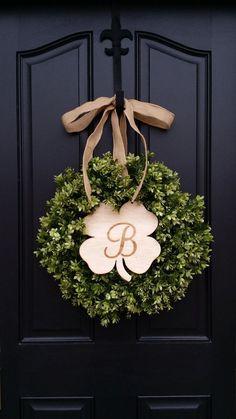 St Patricks Day Wreath Shamrock Decor St Patricks by twoinspireyou