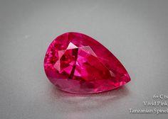Glowing Vivid Pink Tanzanian Spinel – 6 carats Pear – Mahenge Spinel