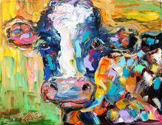 Original oil painting Portrait of a Colorful Cow palette knife impasto on canvas impressionism fine art by Karen Tarlton on Etsy, $128.00