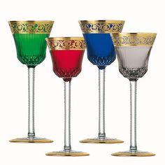 """Saint-Louis """"Thistle Gold"""" hock glasses"""