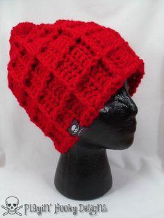 Big Waffle Ski Beanie Kids Crochet Hat by PlayinHookyDesigns