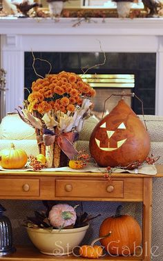 I love the Jack-o-Lantern made from the dried gourd.