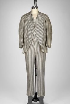 American, Suit worn by James Adams Woolson (1829-1904), 1880, Cotton seersucker jacket and trousers, Gift of the Estate of Mrs. Byron Satterlee Hurlbut 58.166.20