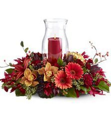 Harvest Hurricane Centerpiece - SameDay Delivery - Los Angeles, CA Fall Flower Arrangements, Table Arrangements, Flower Centerpieces, Floral Decorations, Christmas Arrangements, Centrepieces, Table Centerpieces, Wedding Centerpieces, Fall Flowers