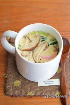 マグカップ一つで「茶碗蒸し」洗い物は、マグカップのみ!作り方も、電子レンジで簡単に出来ちゃうんですよ~蒸し器なんかも要りません!!味付けも「めんつゆ」だけなので とっても簡単♪♪手軽に 1人分ずつ作れるので「茶碗蒸しが 食べた~い」と思ったら すぐに作れます Japanese Dinner, Japanese Food, Asian Recipes, Healthy Recipes, Ethnic Recipes, Cookbook Recipes, Cooking Recipes, Cute Food, Yummy Food