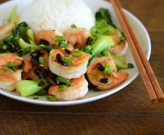 Chinese Shrimp with Black Bean Sauce Recipe Main Dishes with large shrimp, peanut oil, minced garlic, minced ginger, scallions, fermented black beans, bok choy, soy sauce, chinese rice wine, sesame oil