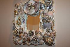 "Sparkling Sea Shell Jewelry  Mosaic Mirror ""PATTI"" Ocean Beach Seashell"