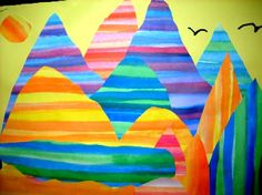 striped landscape   -  this could make a great lesson in both color and perspective.  Lots of possibilities!
