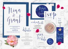 Navy wedding invitation set Navy wedding by ThePrintableShopcom
