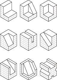 """Résultat de recherche d'images pour """"ejercicios de perspectiva a partir de trama isometrica"""""""