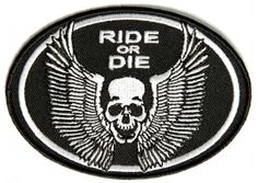 Ride or die small skull with wings patch