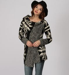Black Aztec Relaxed Sweater at WindsorStore