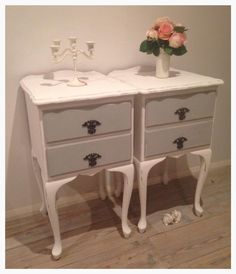 Paris Grey chalk painted bedsides  By The Shabby Chick