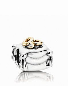 PANDORA Charm - Diamond, 14K Gold & Sterling Silver Romantic Union, .004 ct. t.w. | Bloomingdale's
