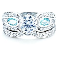 Sterling Silver 1 Ct Round Cubic Zirconia Pear Blue CZ Accent Wedding Ring Set #SparkleJewelry #SolitairewithAccents