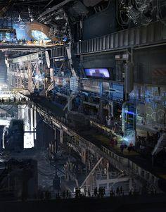 Battle Commander Strategy Facility by Klaus Wittmann. (via ArtStation - Battle Commander Strategy Facility, klaus wittmann) More concept art here. Cyberpunk City, Arte Cyberpunk, Futuristic City, Futuristic Architecture, Fantasy City, Fantasy Places, Sci Fi Fantasy, Arte Sci Fi, Concept Art Landscape