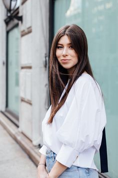 OUTFIT: denim jeans + white blouse   Bikinis & Passports