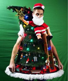 """As tacky as this """"Tipping the Ladder"""" DIY Ugly Christmas Sweater is, it's equally impressive and hilarious. If you're looking for ugly sweater ideas that are bound to win any ugly Christmas sweater party contest, you will want to see this tutorial. Homemade Ugly Christmas Sweater, Diy Ugly Christmas Sweater, Ugly Sweater Party, Christmas Crafts, Christmas Ideas, Christmas Stuff, Christmas Decorations, Ugly Sweater Couple, Christmas Ornaments"""