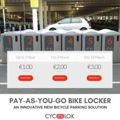 Bicycle Safety, New Bicycle, Bike Locker, Parking Solutions, Bike Parking, Commuter Bike, Lockers, Innovation, Cycling