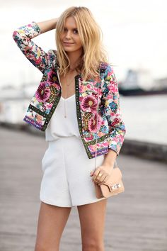 White romper with a floral jacket
