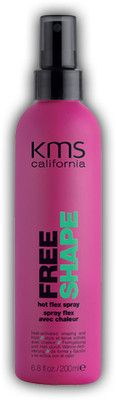 KMS California Freeshape Hot Flex Spray 6.8 oz 200 ml    heat-activated shaping and hold    Flexible shaping and elastic hold. Unlimited heat styling without the damage. Styles last until the next wash. Humidity resistance. Restyleability. Anti-breakage.    Spray onto towel-dried hair as a last step before blow drying. Style as usual.