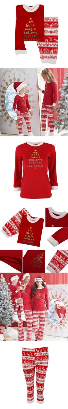 XSG Lovely Christmas Dad&Mom-child Suits Family Pajamas  Long Sleeve Warm Red Letter Printing Pajamas Set
