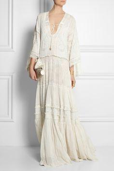 Roberto Cavalli|Lace-trimmed printed silk-crepe dress|Aquazzura | Amazon lace-up  elaphe sandals | Alexander McQueen | De Manta large crochet-print silk-satin clutch |