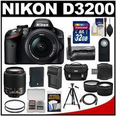 #Nikon D3200 Digital SLR Camera & 18-55mm & 55-200mm DX AF-S Zoom Lens and Case with 32GB Card + Battery + Charger + Grip + Tripod + Tele/Wide Lenses + Kit $674.95