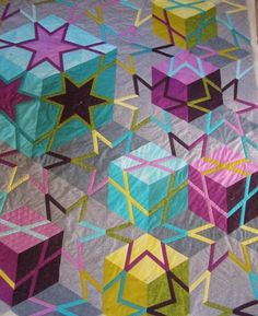 Cubes and stars quilt by Barbara H. Cline | Quiltingal.  Book release August, 2015.