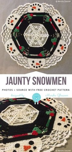 I love doilies that are designed to hide some secrets. Do you remember Santa's Around For Christmas' Decorative Doily? Jaunty Snowmen will be a great Free Crochet Doily Patterns, Granny Square Crochet Pattern, Crochet Squares, Crochet Patterns Amigurumi, Doilies Crochet, Crochet Granny, Crochet Designs, Crochet Ideas, Crochet Christmas Decorations