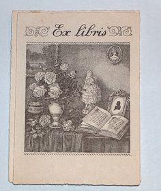 Léo Mabmacien ex-libris vase et livre  ex-libris de série au vase de fleurs et aux livres (20e siècle)