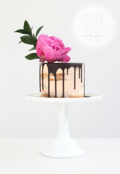 Semi-naked buttercream cake with chocolate ganache and fresh peony