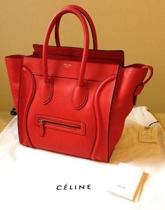 Celine micro luggage in red