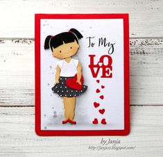 Anja's card using Baby Doll + Love Postage dies Baby Doll Clothes, Baby Dolls, Bow Arrows, Stencils, Birthdays, Card Making, Valentines, Stamp, Scrapbook