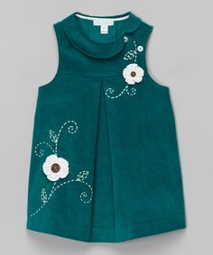 Cute collar - inspiration  Green Floral Sleeveless Babydoll Dress - Infant, Toddler & Girls