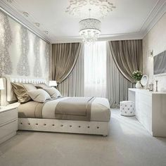 37 The Little-Known Secrets to Elegant Bedroom Ideas Glamour Luxury Master Suite - bdarop Home Decor Bedroom, Curtains Bedroom, Home Bedroom, Bedroom Interior, Bedroom Design, Luxurious Bedrooms, Master Bedrooms Decor, Elegant Home Decor, Bedroom Deco