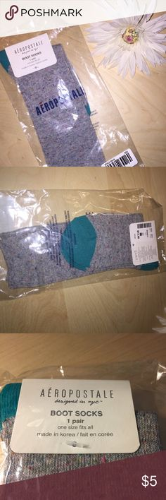 NWT Aeropostale High Rise Boot Socks Aeropostale New with tags!! Never been unpackaged. Gray socks with blue heel and toe. One size fits all. •Offers Are ALWAYS Welcome! 🌸  •Same Day Shipping!  •No Trades  •Thank You for Looking at My Closet! 🌼 Aeropostale Other