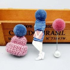 Cute set of 3 pins: girl wearing large winter cap, cap with pompom and pompom pin.Add unique element to your winter outfit! Pink Jewelry, Body Jewelry, Jewellery, Pink Sale, Thanksgiving Gifts, Winter Trends, Girls Wear, Animal Design, Necklaces