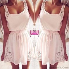 Sweet Waist String Sleeveless Chiffon Dress #dress #women #fashion